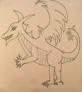 Completed dragon sketch