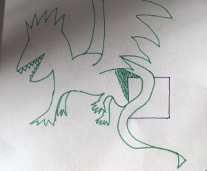 Green dragon with purple present