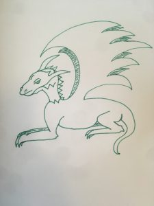 Dragon with normal back leg and shaded wings