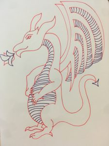 Dragon with hands on stomach