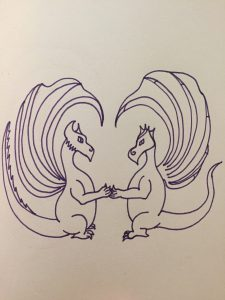 Two dragons forming a heart