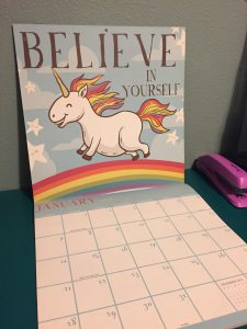 Unicorn Calendar that says believe in yourself