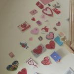 Valentines taped to the wall