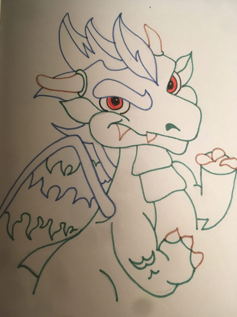 Fiery eyes and tea soaked claws: Drawing Dragons Day 32