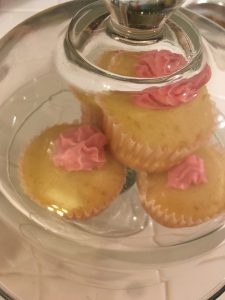 Pink cupcakes on the counter