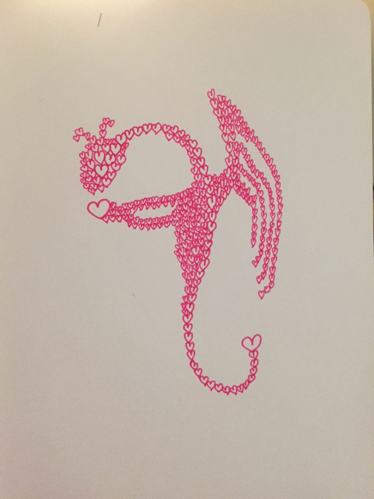 Pink dragon made of hearts
