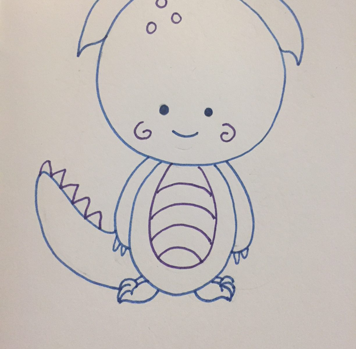 Small Dragon with big head, purple and blue