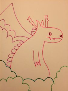 Pink dragon in the bushes
