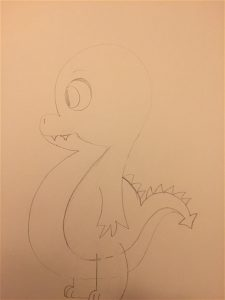 super cute penciled baby dragon