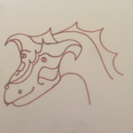 Dragon head in bron ink