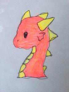 cute little red dragon with yellow spikes