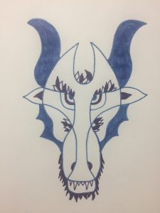 Head of dragon in purple and blue