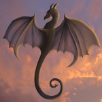 Dragon hovering in air - grey
