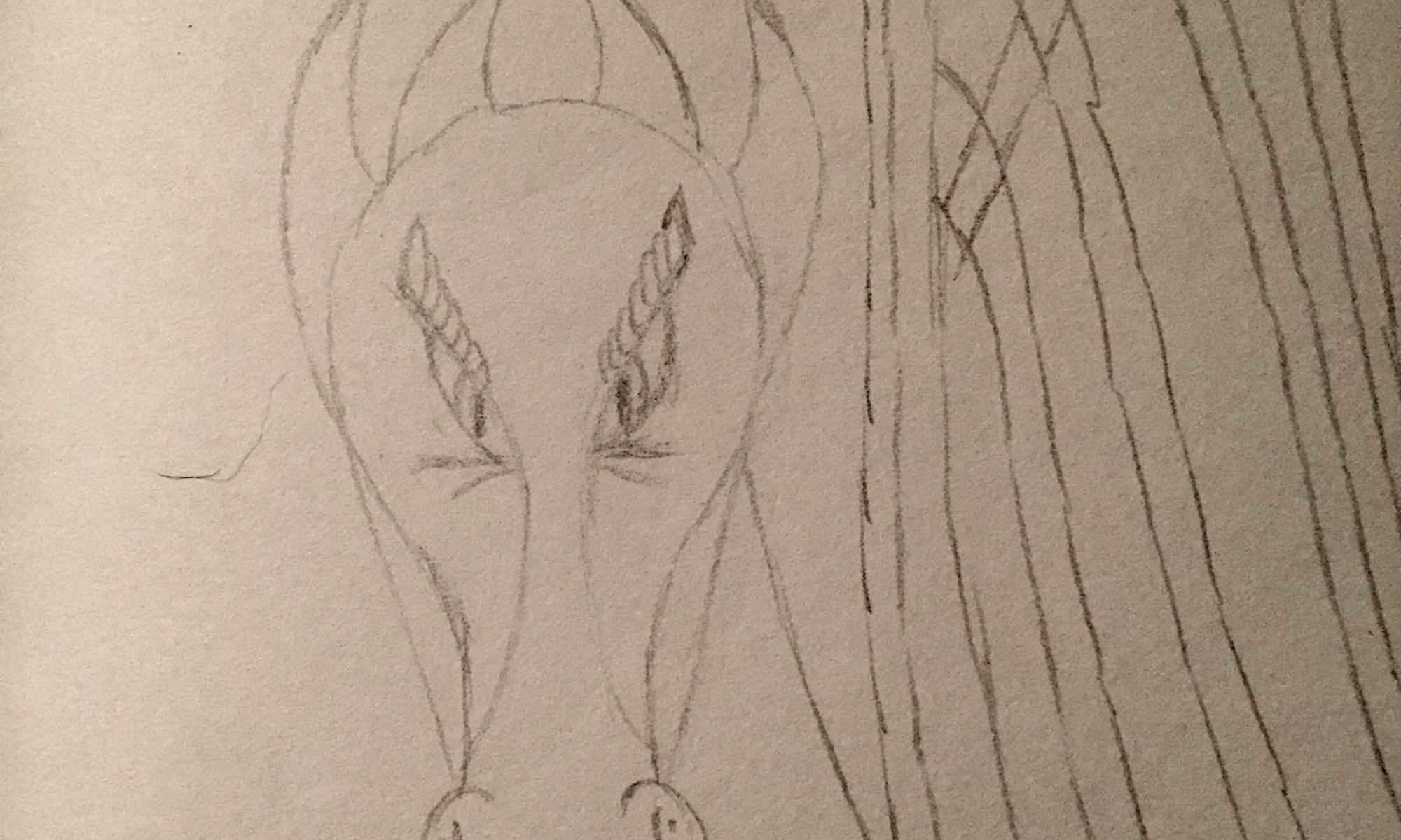 Dragon with wings like a harp in pencil