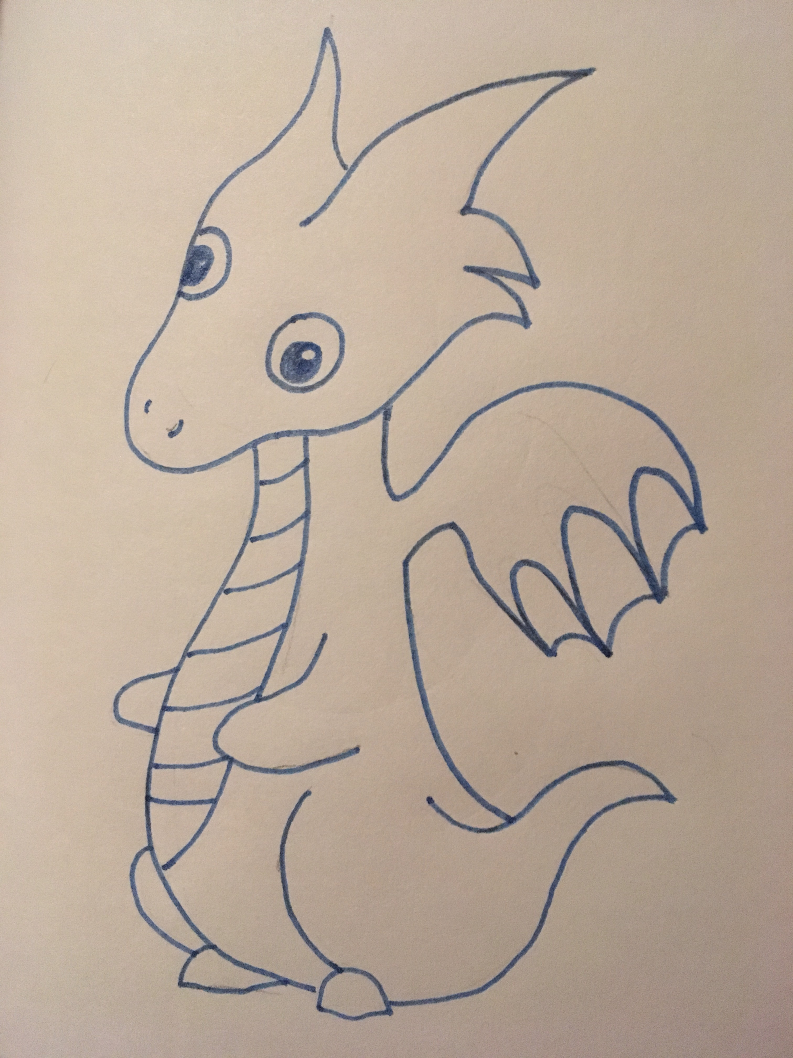 Blue cartoon dragon needs bow tie