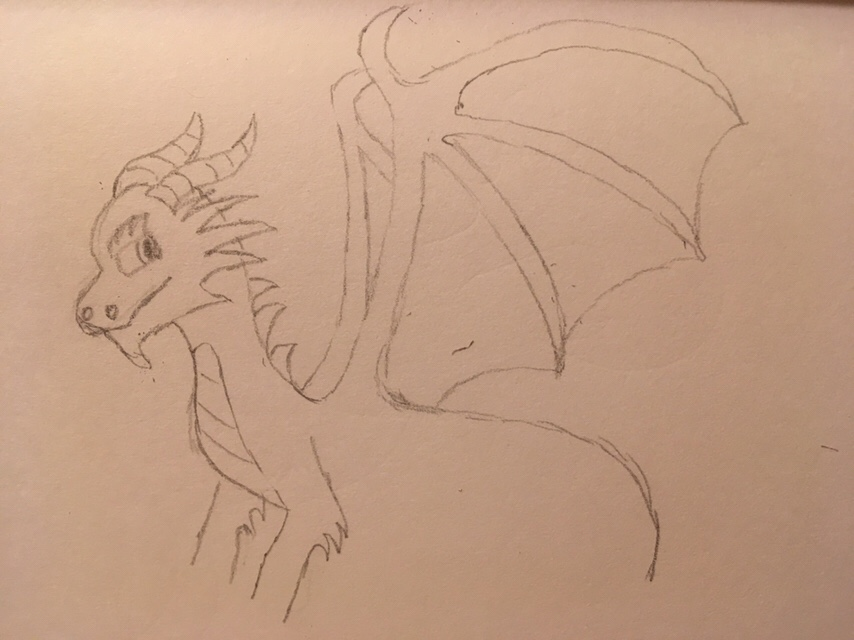 Red and gold: Drawing Dragons Day 179