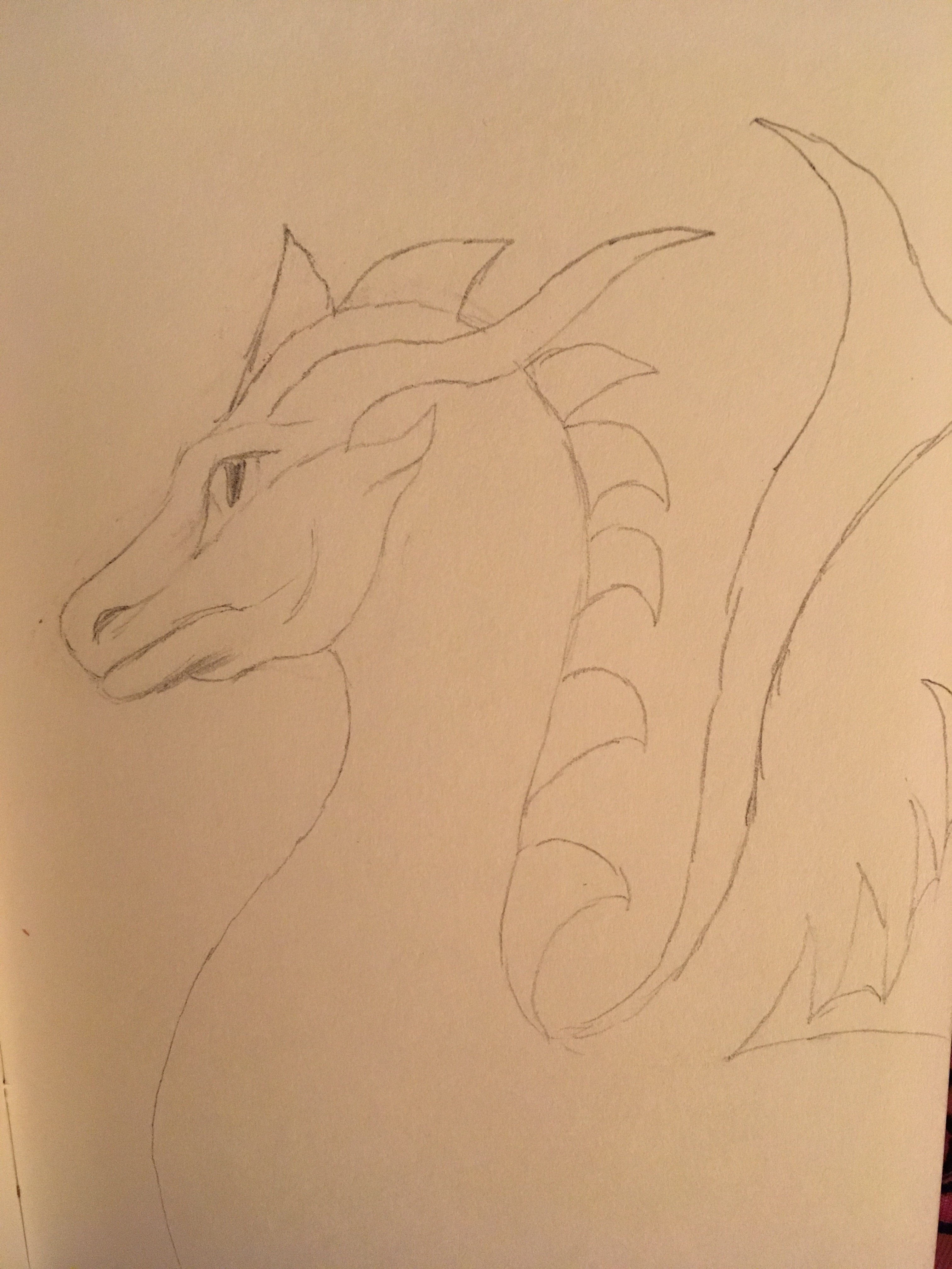 Dragon and pencil with old face but sketchy child like body