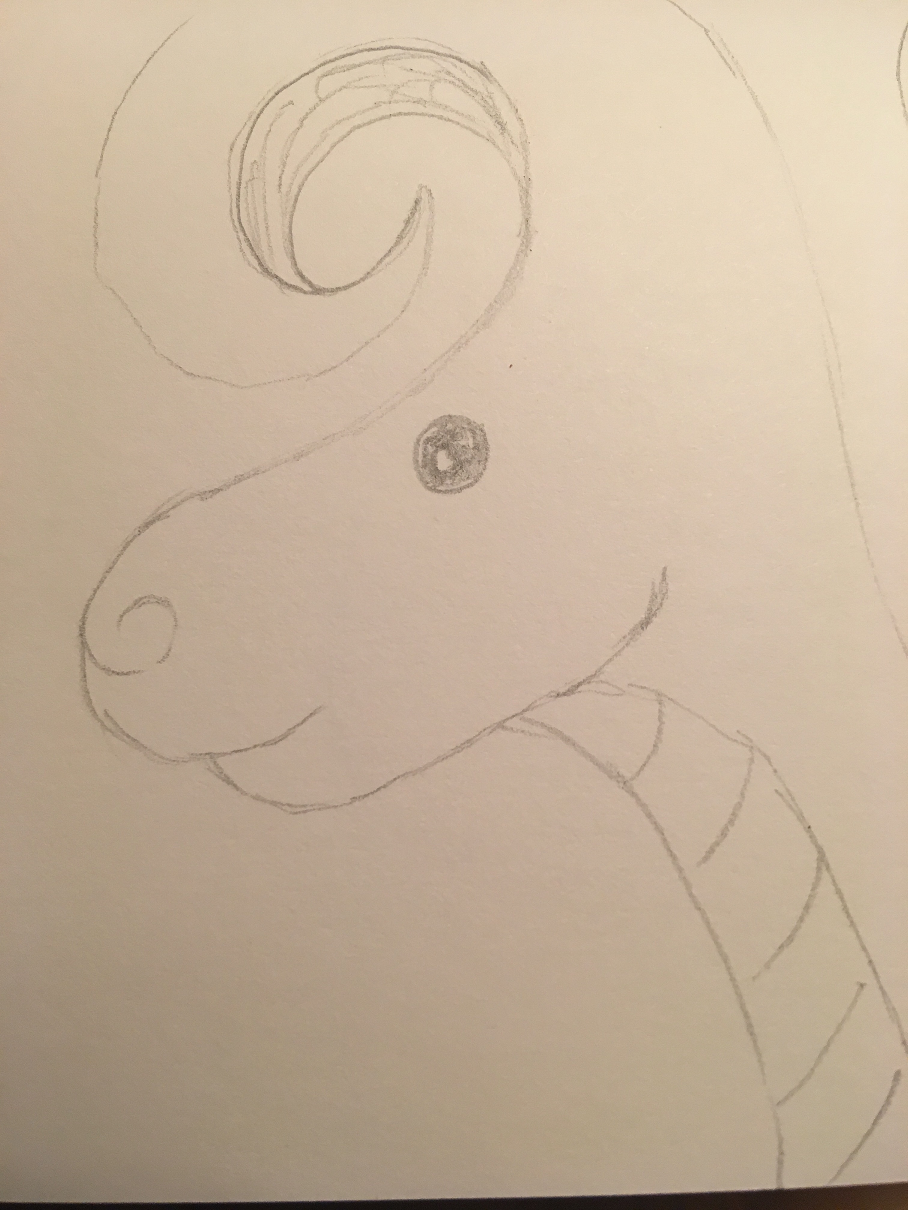 Dragon with spiral horn