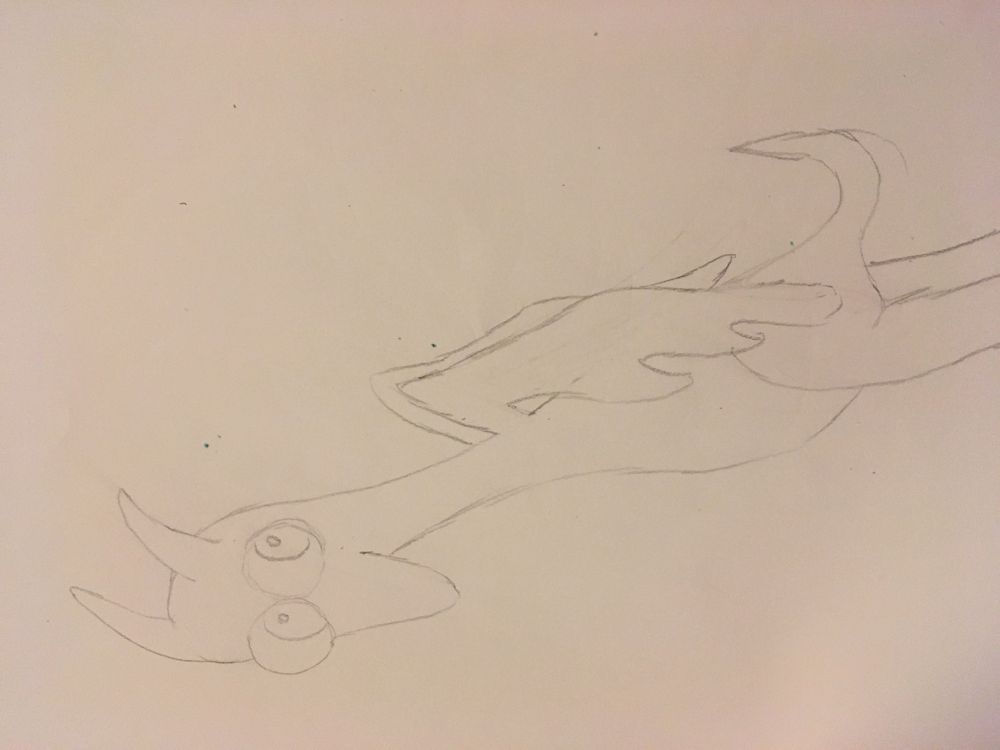 Dragon in pencil that kind of looks like a chicken