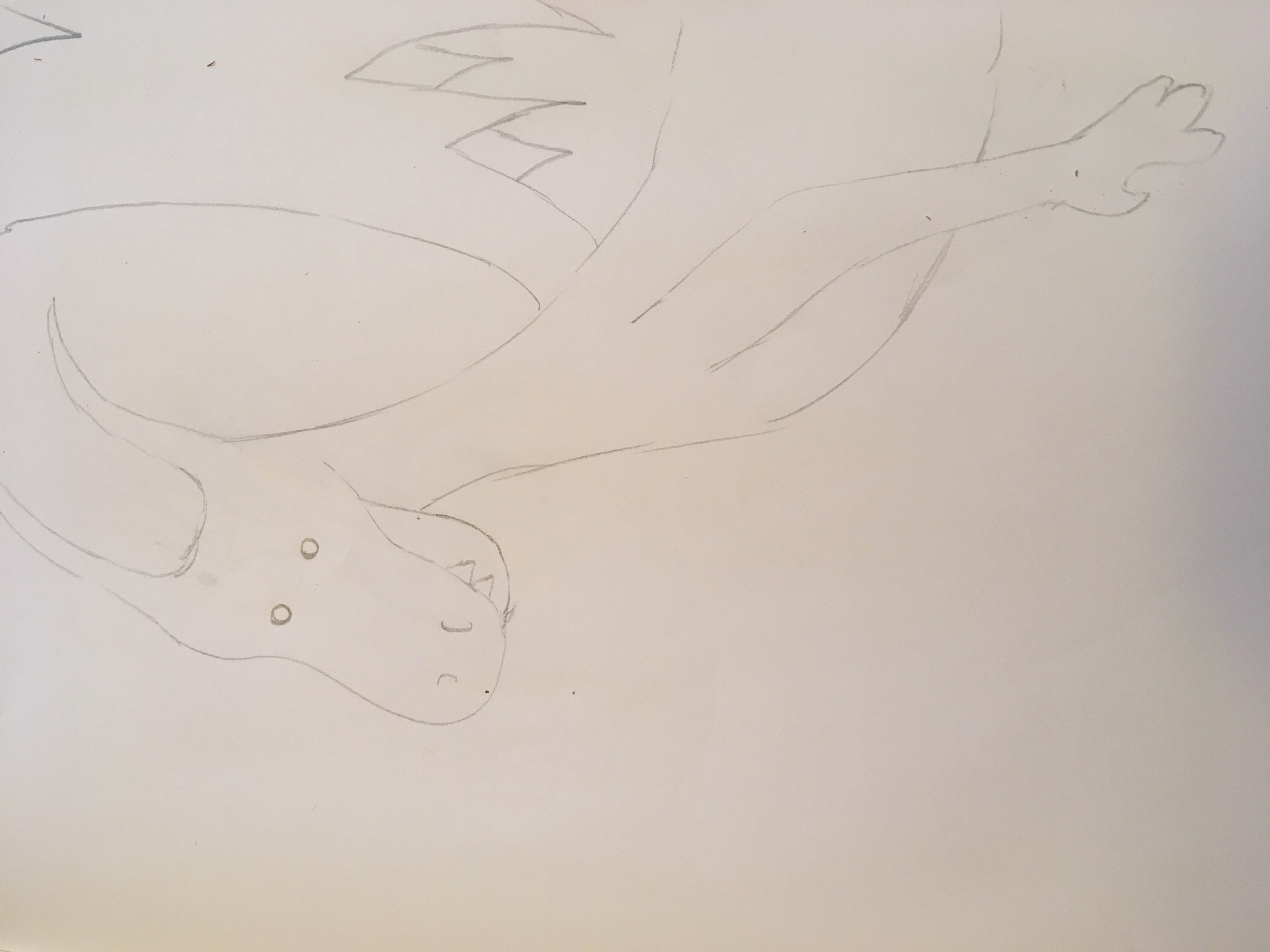 Sketch of a cartoon dragon in-flight in pencil small eyes