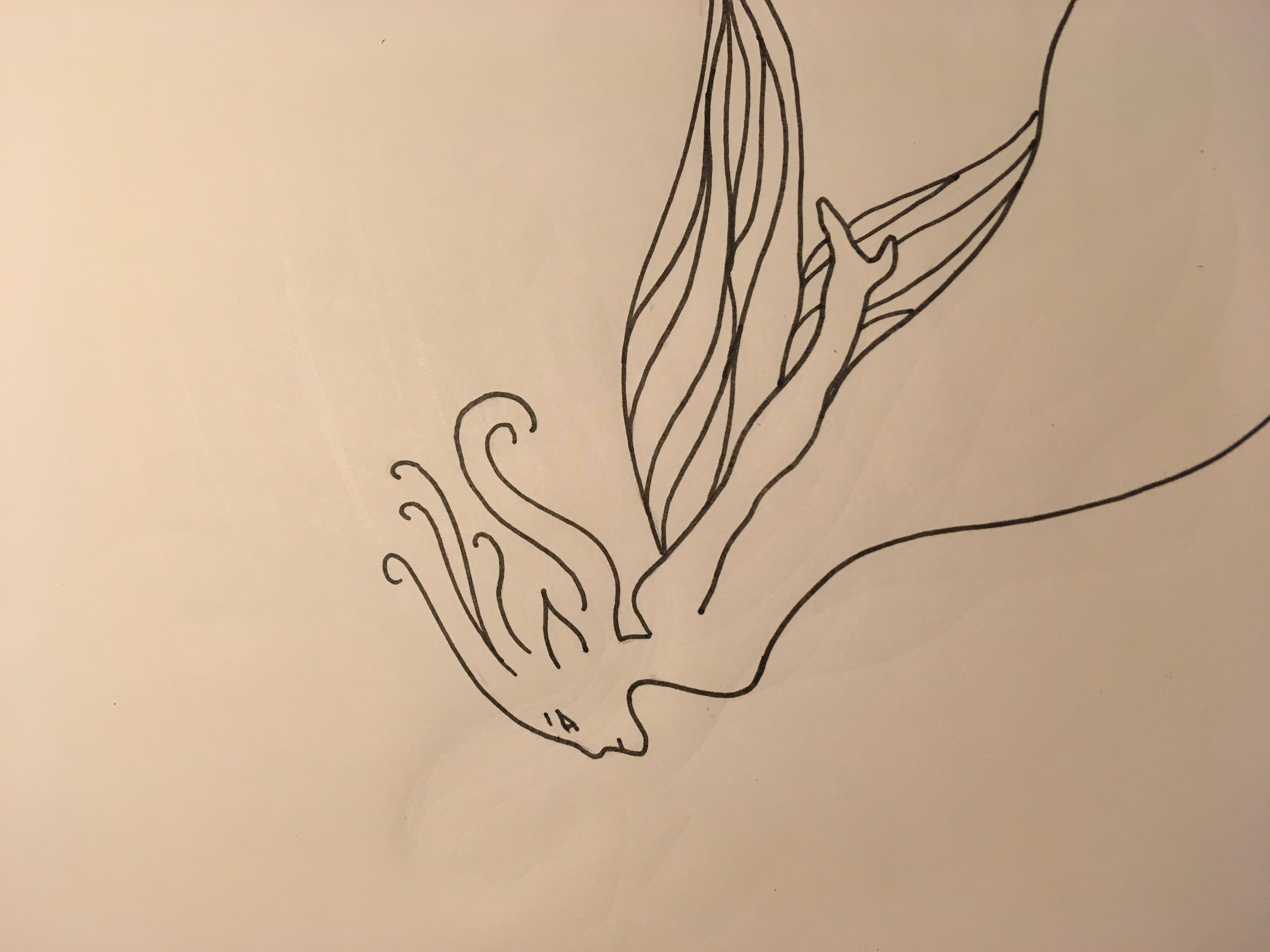 Fairy flying into wind black ink