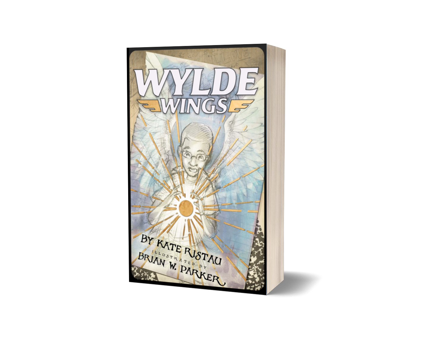 Wylde Wings book cover with POC boy holding a golden spark, sketched wings in the background, and notebooks