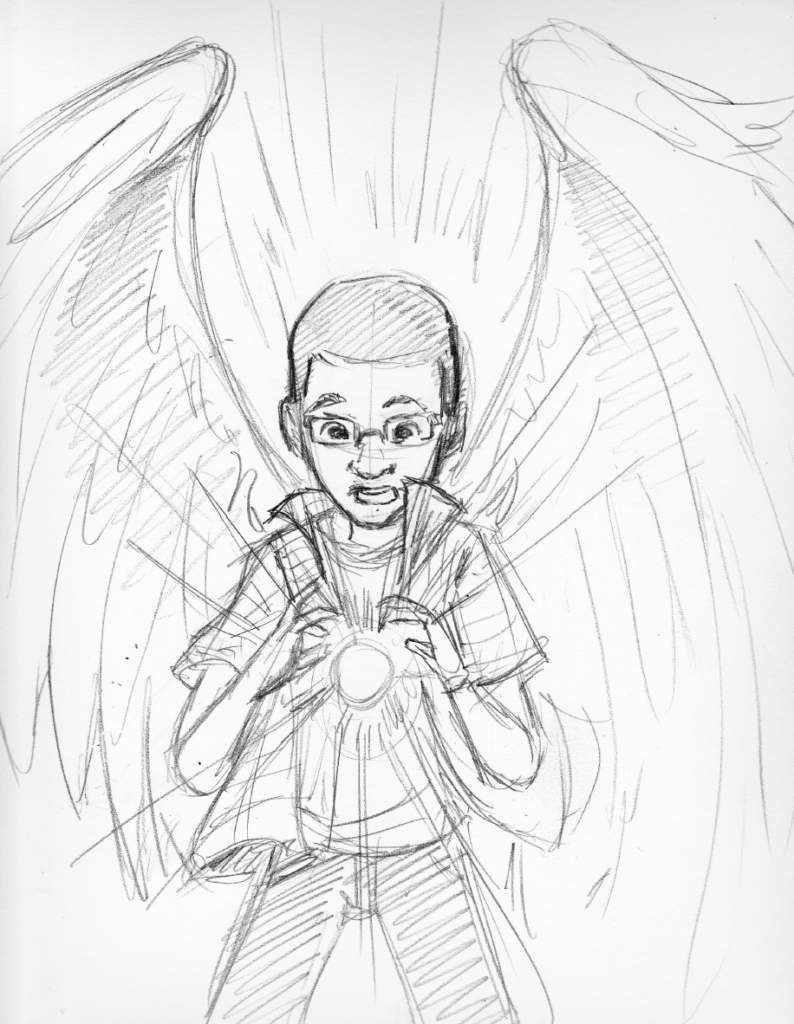 Wylde Wings Pencil sketch by Brian W. Parker of african-american kid with glasses and wings holding a spark