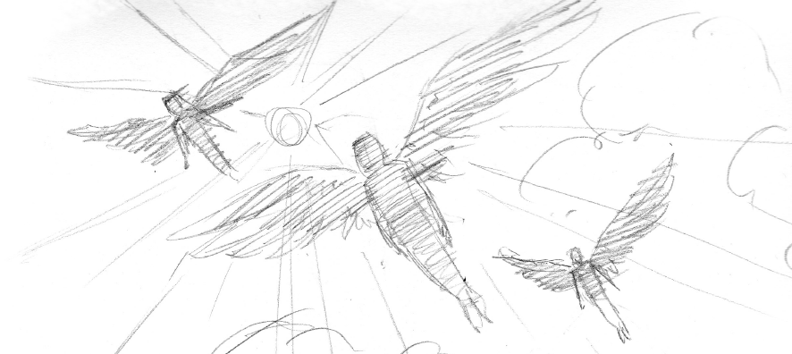 Wylde Wings Pencil sketch by Brian W. Parker of people with wings flying into the sky toward the sun