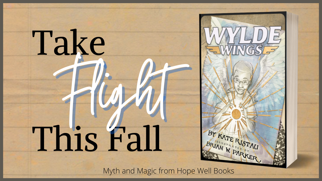 Wylde Wings book cover with accompanying text, Take flight this fall